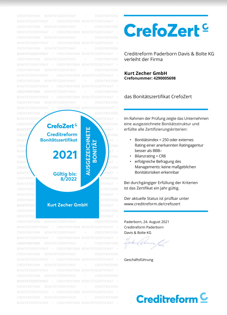 CrefoZert Bonitätszertifikat für die Kurz Zecher GmbH